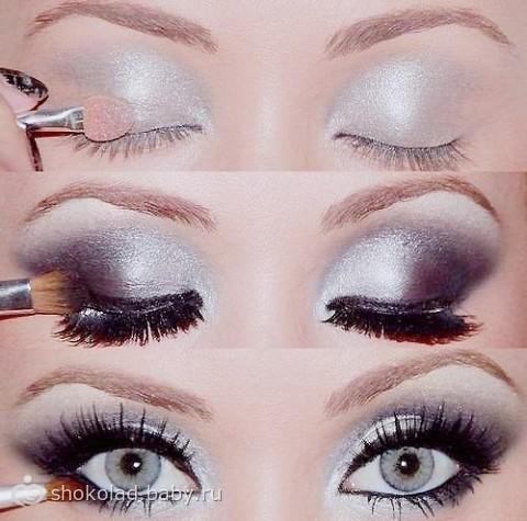 Пошаговый макияж глаз серыми тенями
