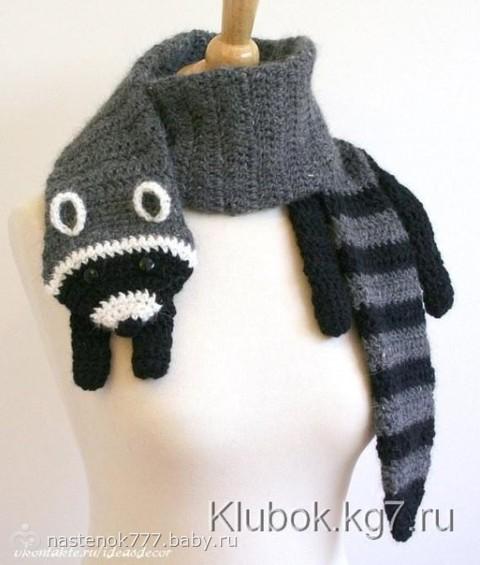 Еще несколько интересных идей по рукоделию для детей - вязанные шарфики в виде зверюшек - лисы, котика, панды