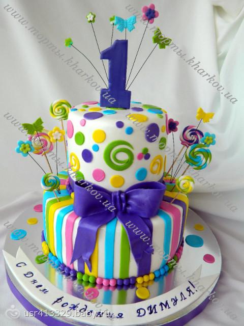 Красивый торт на годик мальчику своими руками