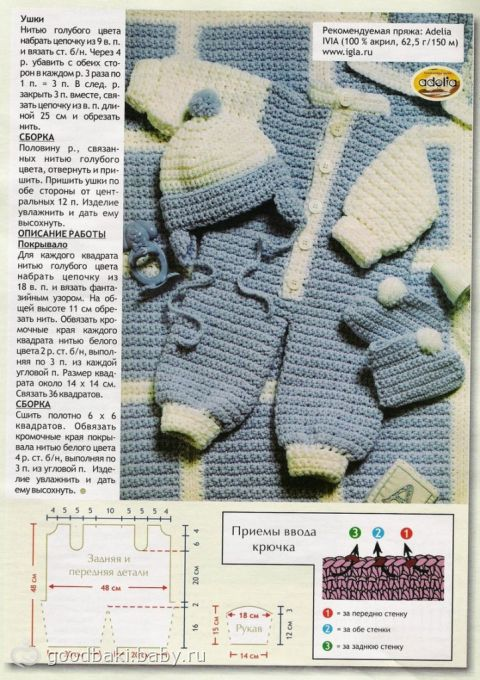 Вязанный комбинезон для новорожденного крючком схема