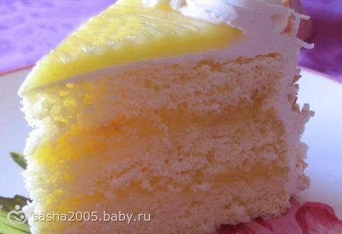 Бисквитный торт с лимонным кремом с фото