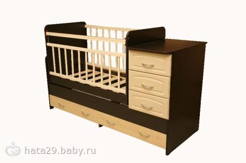 Детская кроватка-трансформер Антел Ульяна с комодом (маятник поперечный