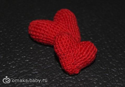 МК Вязаные объемные сердечки