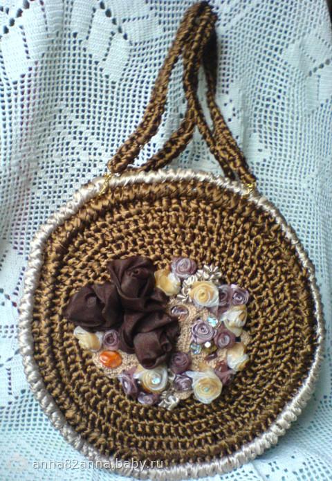Схемы вязания сумочки крючком из атласной ленты 2013/02/12.