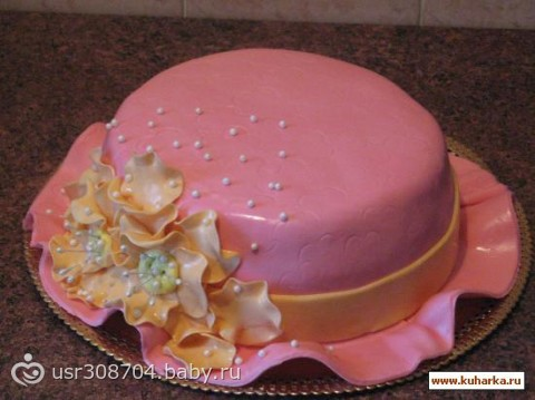 Украшение тортика-шляпка с фото из маршмеллоу или мастики