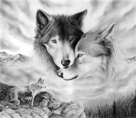 крестиком волков вышивать,
