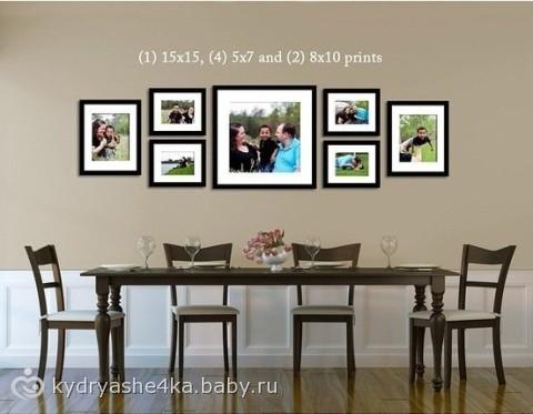 как расположить рамки с фото на стене