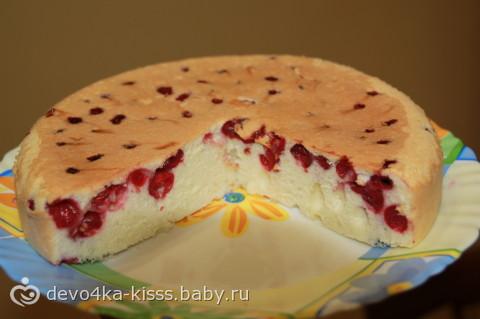 бисквитный пирог с вишней в духовке рецепт