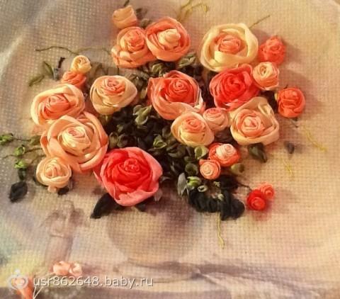 Вышивка лентами шикарные розы 899