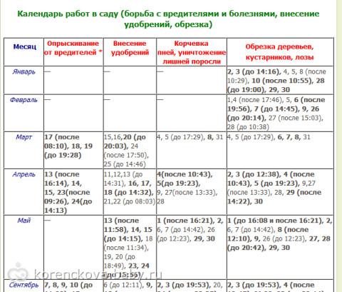 Календарь работ в саду (борьба с вредителями и болезнями, внесение удобрений, обрезка)