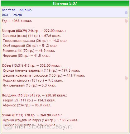 Похудеятельное, мое меню за 5.07.13