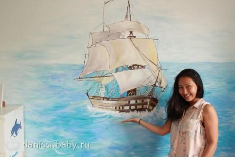 роспись стены в детской комнате:-)