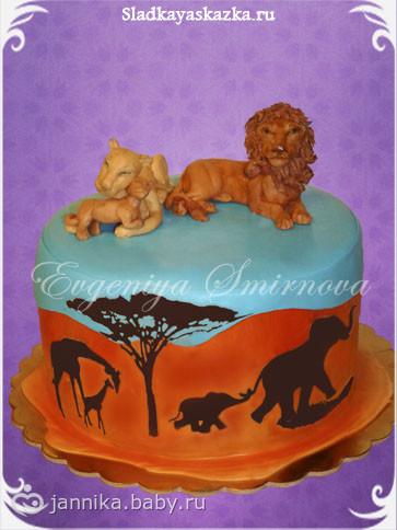 Торт львица лев и львенок фото
