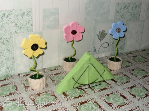 Цветики, цветочки из салфеток