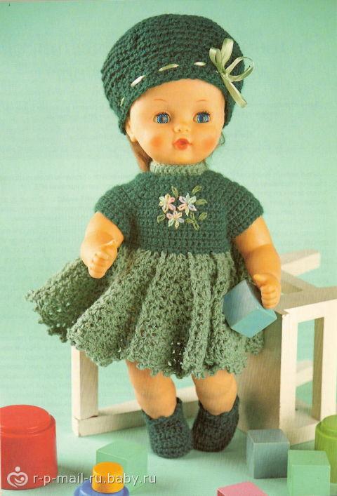 Вязанная одежда для кукол спицами с описанием и схемами