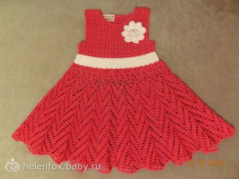 Платье крючком для девочки 1-2 года видео